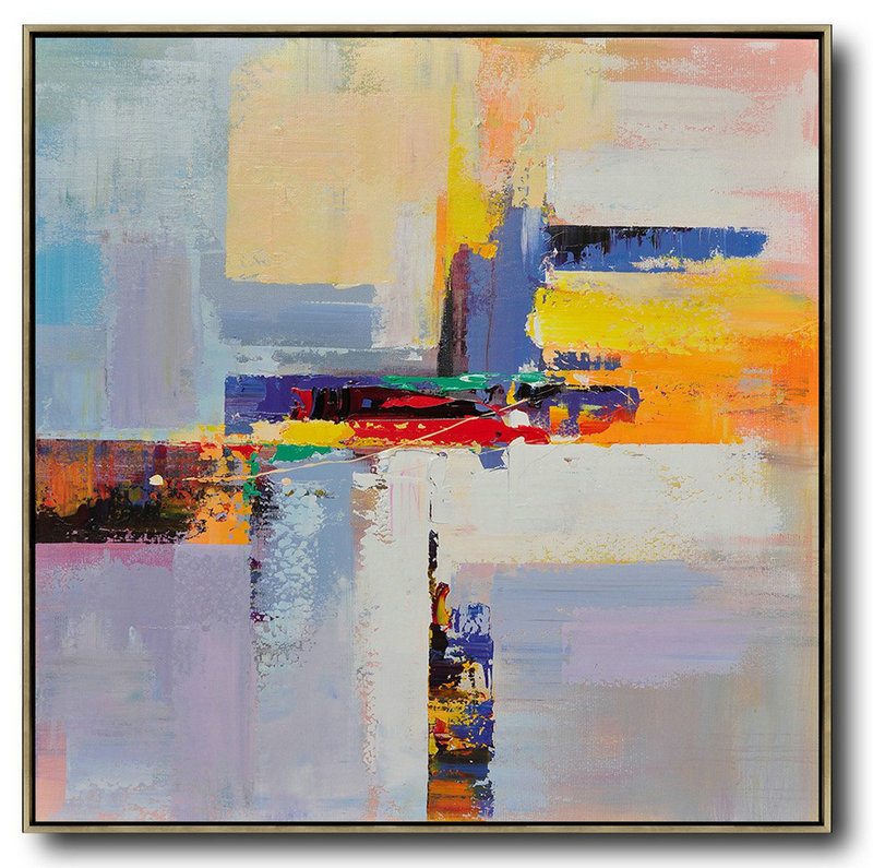 Huge Abstract Painting On Canvas,Oversized Palette Knife Painting Contemporary Art On Canvas,Art Work,Blue,Yellow,Red,Pink Purple.Etc