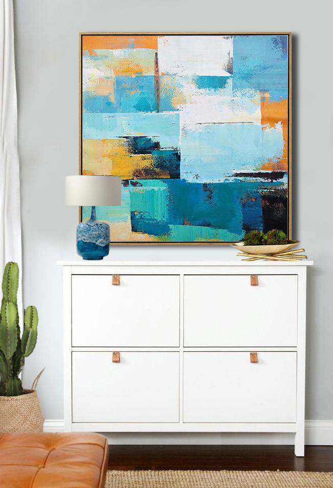 Extra Large Acrylic Painting On Canvas,Oversized Palette Knife Painting Contemporary Art On Canvas,Large Abstract Wall Art,Navy Blue,Sky Blue,White,Yellow,Black.Etc