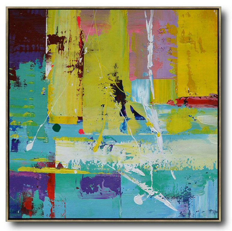 Abstract Painting Extra Large Canvas Art,Oversized Palette Knife Painting Contemporary Art On Canvas,Hand Painted Original Art,Lake Blue,Purple,Yellow,Red.Etc