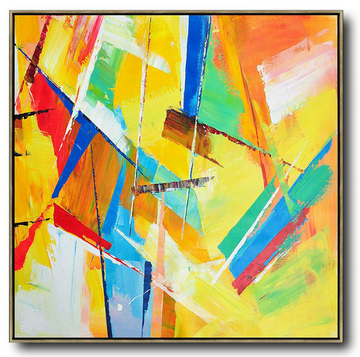 Extra Large Painting,Oversized Palette Knife Painting Contemporary Art On Canvas,Acrylic Painting On Canvas,Yellow,Light Green,Red,Blue,Pink.Etc