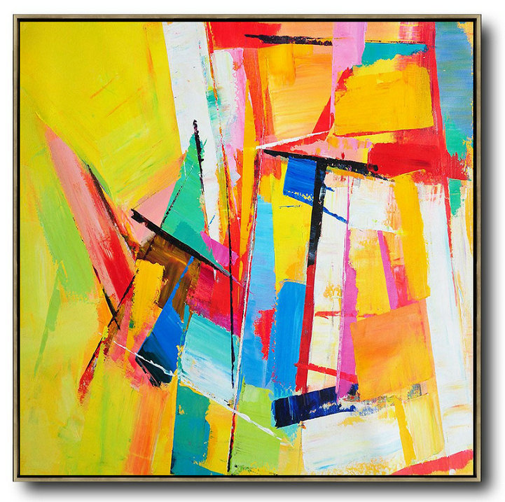 Oversized Canvas Art On Canvas,Oversized Palette Knife Painting Contemporary Art On Canvas,Big Living Room Decor,Yellow,Blue,Red,Pink,Light Green.Etc