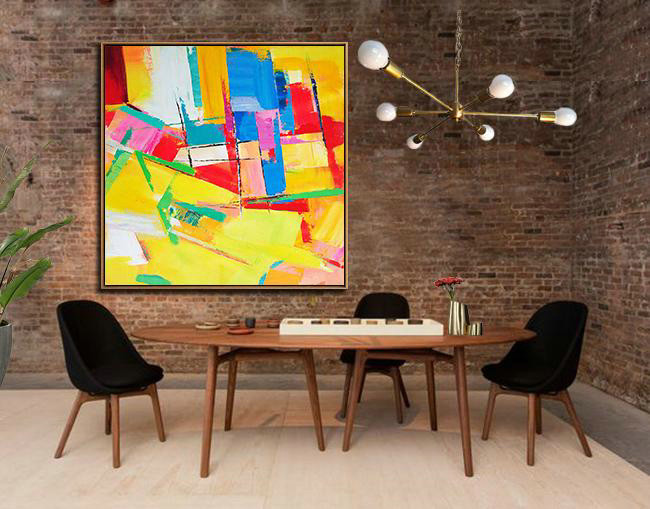 Abstract Painting Extra Large Canvas Art,Oversized Palette Knife Painting Contemporary Art On Canvas,Large Abstract Wall Art,Yellow,Red,Blue,Pink,Light Green.Etc