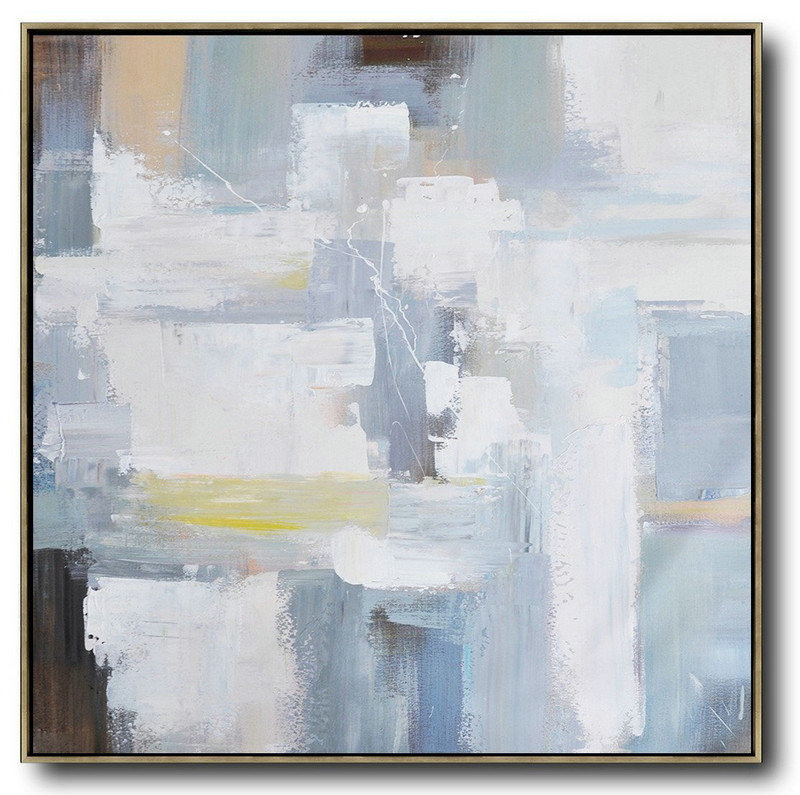 Large Abstract Painting,Oversized Palette Knife Contemporary Art,Oversized Wall Decor,Grey,White,Blue,Yellow.Etc