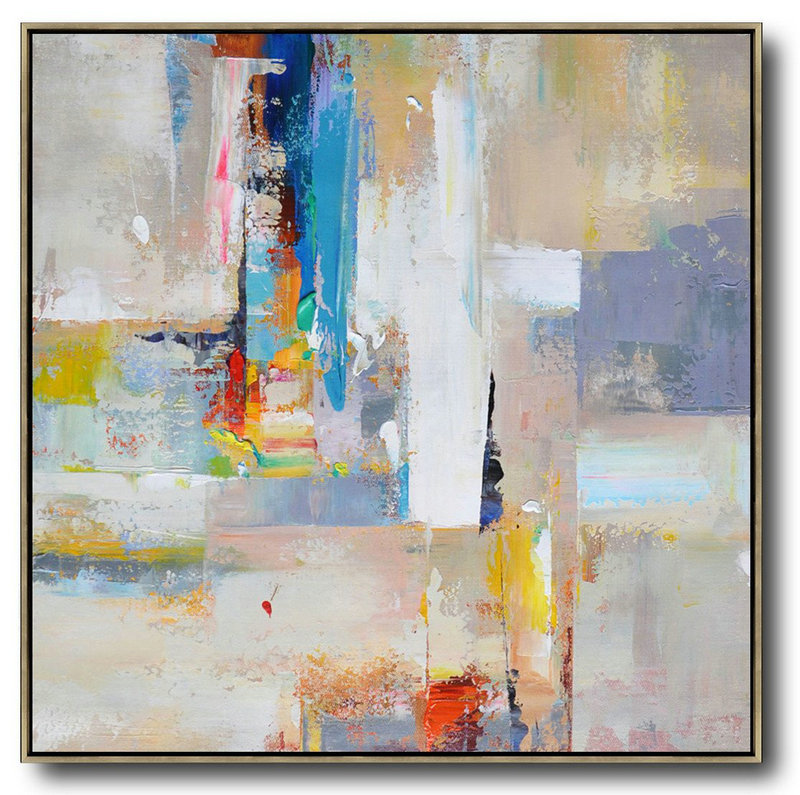 Extra Large Painting,Oversized Palette Knife Painting Contemporary Art On Canvas,Modern Art Abstract Painting,Blue,Yellow,Nude,Pink,Red.Etc