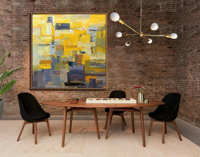 Large Abstract Art,Oversized Palette Knife Painting Contemporary Art On Canvas,Colorful Wall Art,Yellow,Brown,Taupe,Gray Violet.Etc