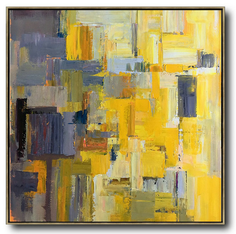 Abstract Painting Extra Large Canvas Art,Oversized Palette Knife Painting Contemporary Art On Canvas,Wall Art Ideas For Living Room,Yellow,Gray Violet,Brown,Taupe.Etc
