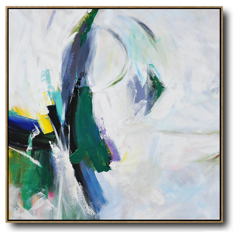 Abstract Painting Extra Large Canvas Art,Palette Knife Contemporary Art Canvas Painting,Huge Abstract Canvas Art,White,Dark Green,Purple,Grey.Etc