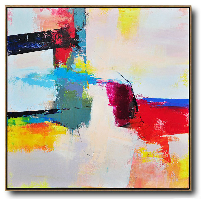Large Contemporary Art Acrylic Painting,Palette Knife Contemporary Art Canvas Painting,Size Extra Large Abstract Art,Pink,Red,Blue,Yellow.Etc