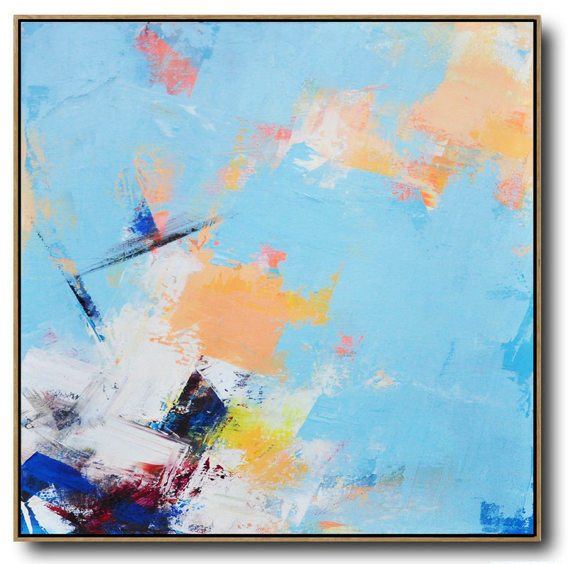 Large Abstract Art,Palette Knife Contemporary Art Canvas Painting,Unique Canvas Art,Sky Blue,Yellow,White,Dark Blue.Etc