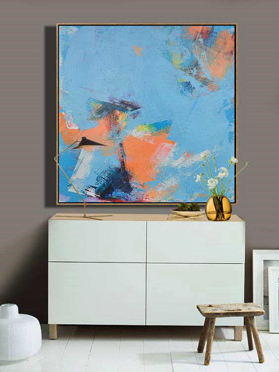Abstract Painting Extra Large Canvas Art,Palette Knife Contemporary Art Canvas Painting,Giant Canvas Wall Art,Sky Blue,Orange,Yellow,White.Etc