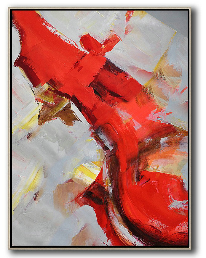 Large Modern Abstract Painting,Vertical Palette Knife Contemporary Art,Hand Painted Abstract Art,Red,Grey,White,Brown.Etc