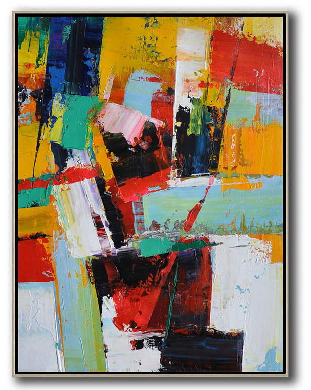 Large Modern Abstract Painting,Vertical Palette Knife Contemporary Art,Hand Painted Aclylic Painting On Canvas,Yellow,Red,White,Blue.Etc