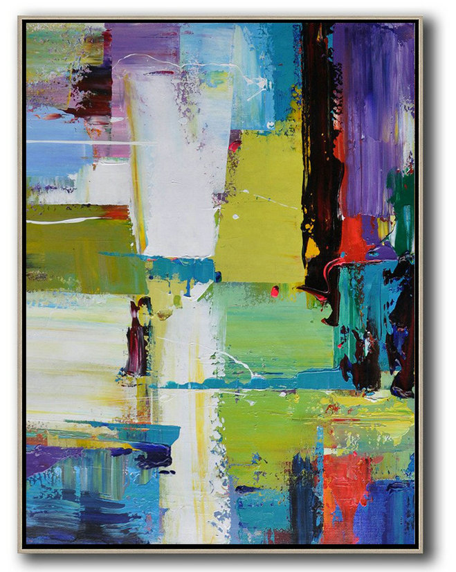 Abstract Painting Extra Large Canvas Art,Vertical Palette Knife Contemporary Art,Hand Painted Aclylic Painting On Canvas,Purple,Yellow,Grass Green,Black,Red.Etc