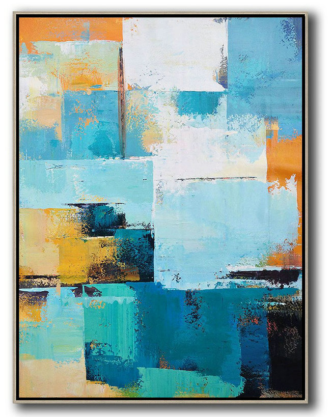 Abstract Painting Extra Large Canvas Art,Vertical Palette Knife Contemporary Art,Acrylic Painting Large Wall Art,White,Blue,Orange,Yellow.Etc