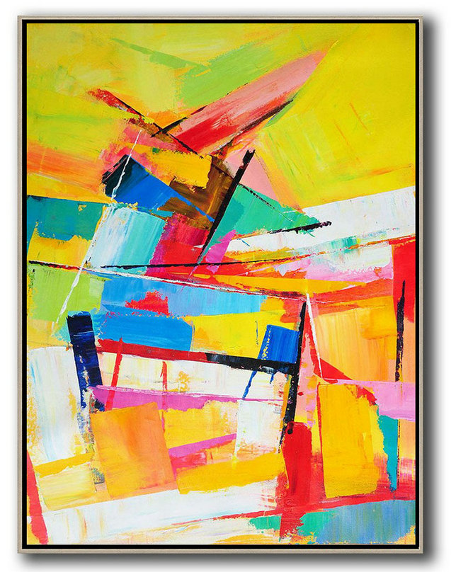 Hand Painted Extra Large Abstract Painting,Vertical Palette Knife Contemporary Art,Large Canvas Wall Art For Sale,Yellow,Red,Blue,White.Etc