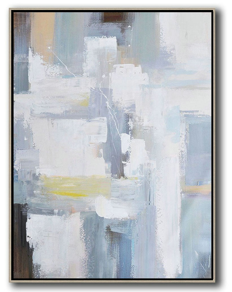 Large Abstract Painting On Canvas,Vertical Palette Knife Contemporary Art,Original Abstract Painting Canvas Art,White,Grey,Brown,Yellow.Etc