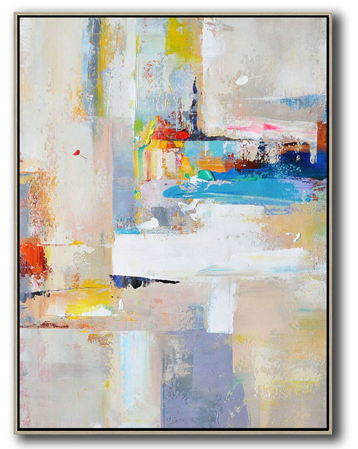 Large Abstract Art Handmade Painting,Vertical Palette Knife Contemporary Art,Acrylic Painting Wall Art,Beige,White,Blue,Red,Yellow,Pink.Etc