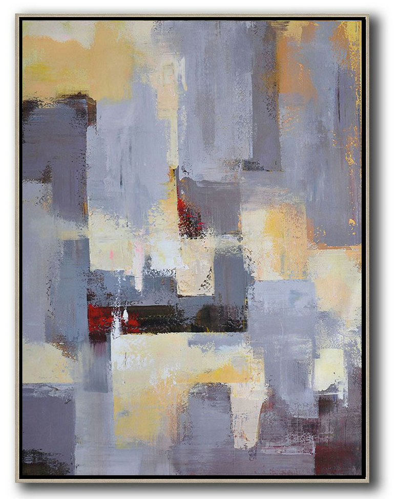 Abstract Painting Extra Large Canvas Art,Vertical Palette Knife Contemporary Art,Extra Large Artwork,Grey,Yellow,Red.Etc