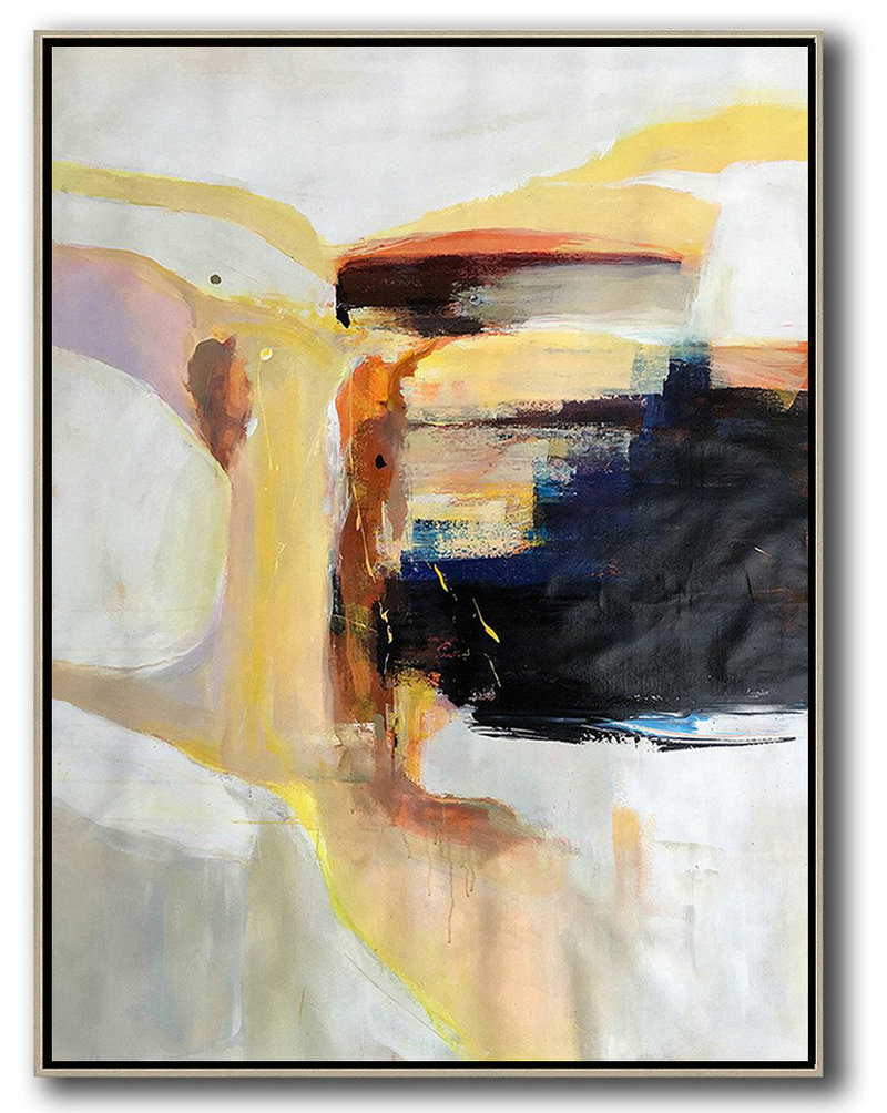 Extra Large Canvas Art,Vertical Palette Knife Contemporary Art,Large Wall Canvas,Grey,White,Yellow,Black.Etc