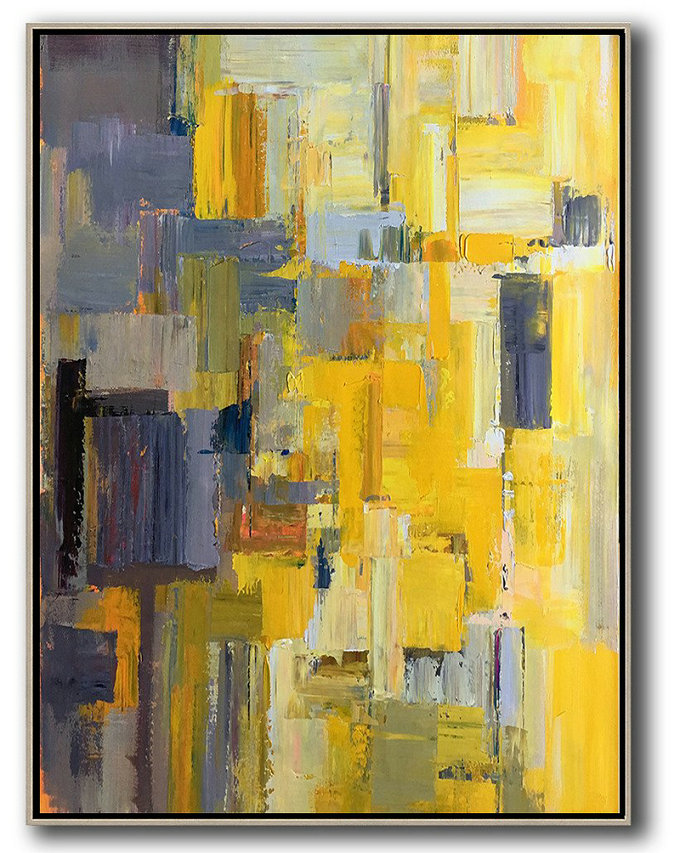 Handmade Large Contemporary Art,Vertical Palette Knife Contemporary Art,Large Canvas Art,Modern Art Abstract Painting,Yellow,Purple,Beige,Brown,Taupe.Etc