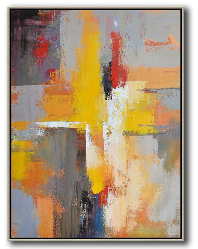 Huge Abstract Painting On Canvas,Vertical Palette Knife Contemporary Art,Modern Canvas Art,Yellow,Red,White,Violet Ash.Etc