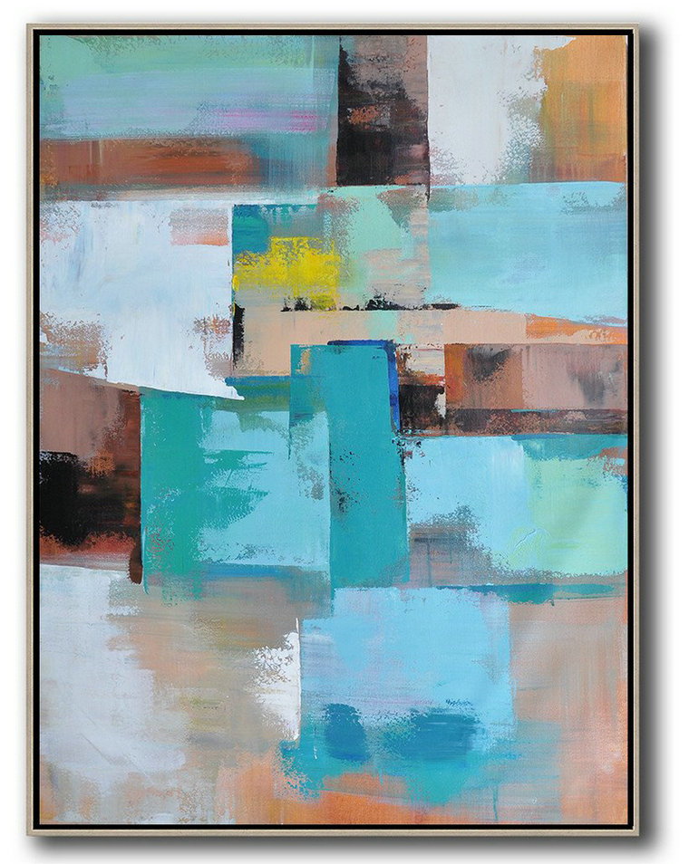 Original Painting Hand Made Large Abstract Art,Vertical Palette Knife Contemporary Art,Canvas Paintings For Sale,Green,Blue,Brown,Beige,Yellow.Etc