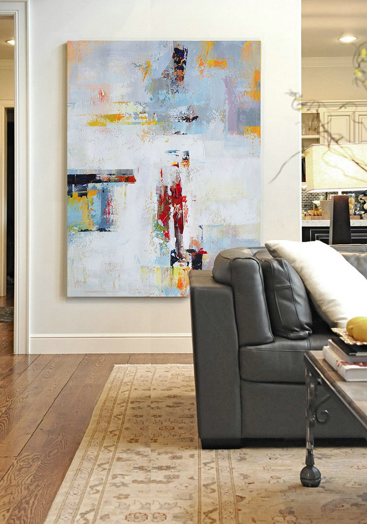 Original Extra Large Wall Art,Vertical Palette Knife Contemporary Art,Original Abstract Painting Canvas Art,White,Grey,Red,Yellow.Etc