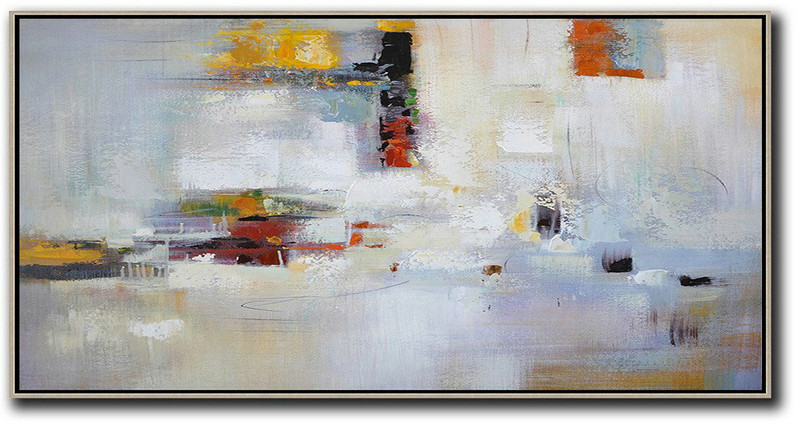 Huge Abstract Painting On Canvas,Horizontal Palette Knife Contemporary Art,Large Living Room Wall Decor,Grey,White,Purple,Red.Etc
