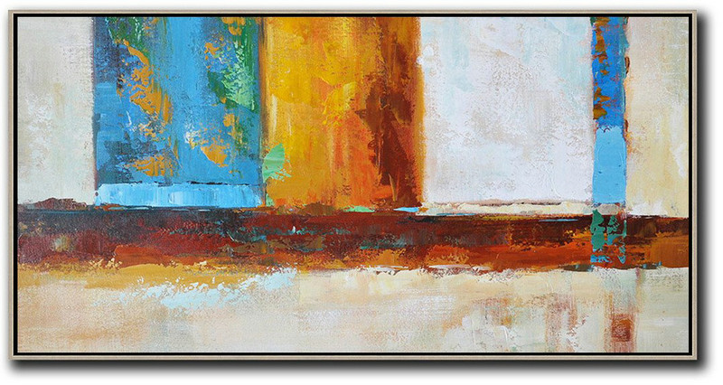 Extra Large Acrylic Painting On Canvas,Horizontal Palette Knife Contemporary Art,Colorful Wall Art,Gret,Blue,Yellow,Orange,Brown.Etc