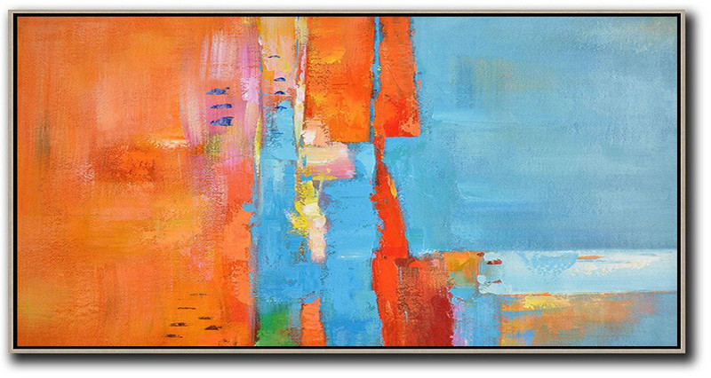 Extra Large Painting,Horizontal Palette Knife Contemporary Art,Pop Art Canvas,Orange,Sky Blue,White,Red.Etc