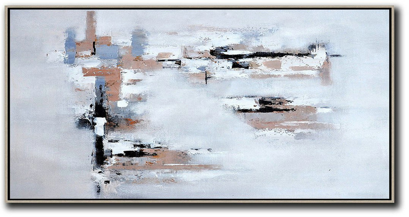 Extra Large Canvas Art,Horizontal Palette Knife Contemporary Art,Hand Made Original Art,White,Grey,Pink,Black,Blue.Etc