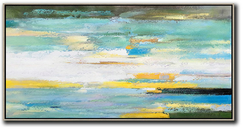 Handmade Large Painting,Horizontal Palette Knife Contemporary Art,Large Abstract Art Handmade Acrylic Painting,White,Yellow,Blue,Light Green,Black.Etc