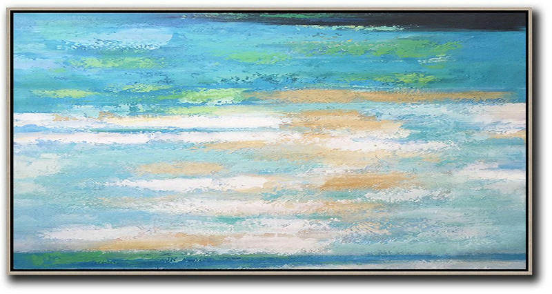 Original Artwork Extra Large Abstract Painting,Horizontal Palette Knife Contemporary Art,Original Abstract Painting Canvas Art,Lake Blue,White,Yellow.Etc