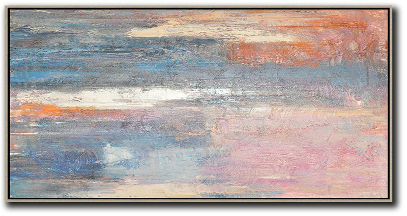 Handmade Extra Large Contemporary Painting,Horizontal Palette Knife Contemporary Art,Modern Art Abstract Painting,Pink,Blue,Grey,Earthy Yellow.Etc