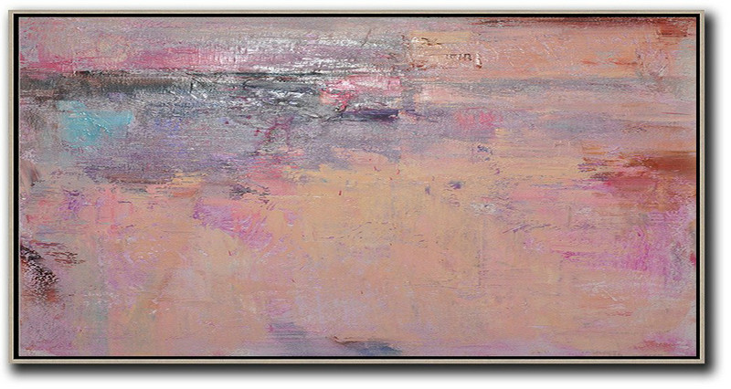 Oversized Canvas Art On Canvas,Horizontal Palette Knife Contemporary Art,Original Art Acrylic Painting,Light Yellow,Purple,Pink,Brown.Etc