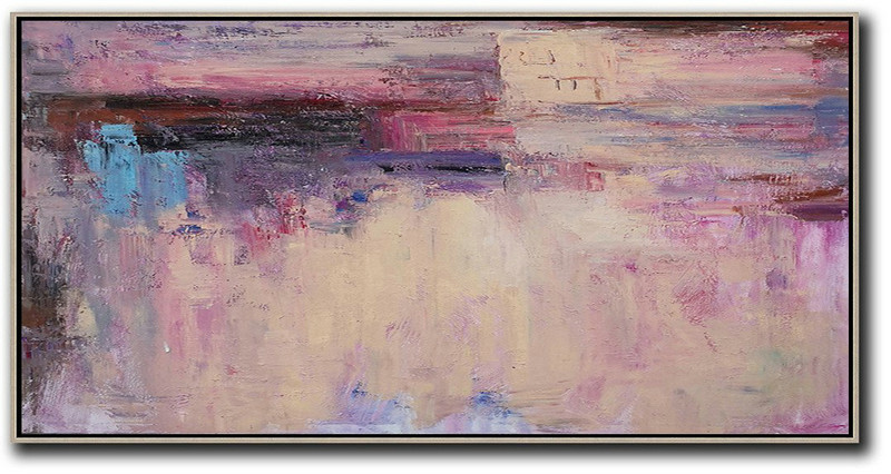 Large Abstract Painting,Horizontal Palette Knife Contemporary Art,Acrylic Painting On Canvas,Light Yellow,Purple,Pink,Brown.Etc