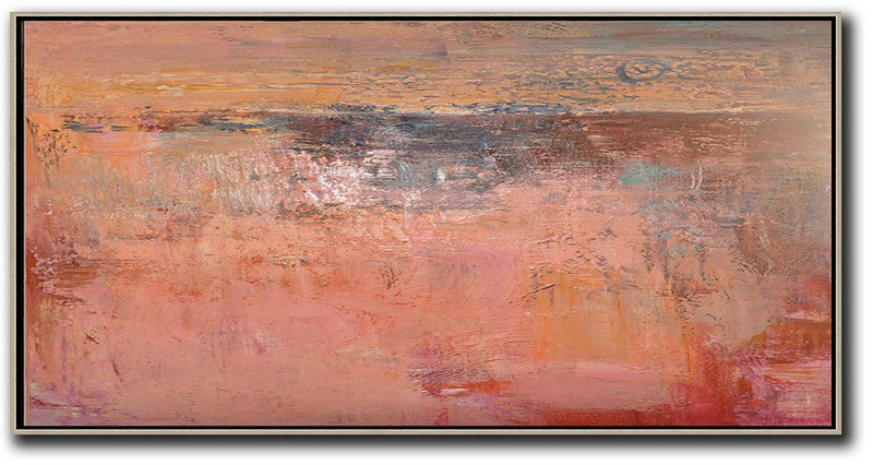 Large Abstract Art,Horizontal Palette Knife Contemporary Art,Huge Abstract Canvas Art,Pink,Earthy Yellow,Brown,Red.Etc