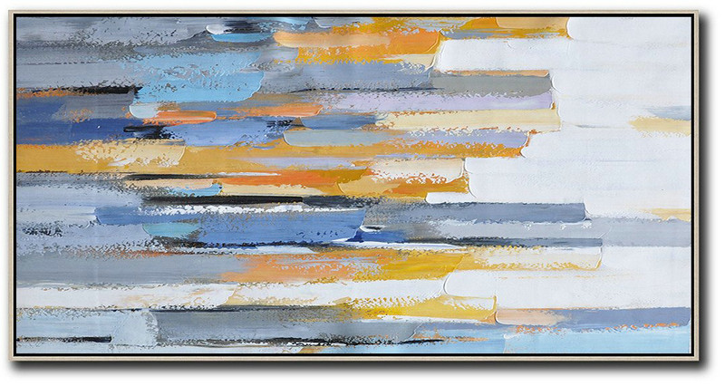 Large Abstract Art,Horizontal Palette Knife Contemporary Art,Acrylic Painting On Canvas,White,Blue,Orange,Yellow.Etc