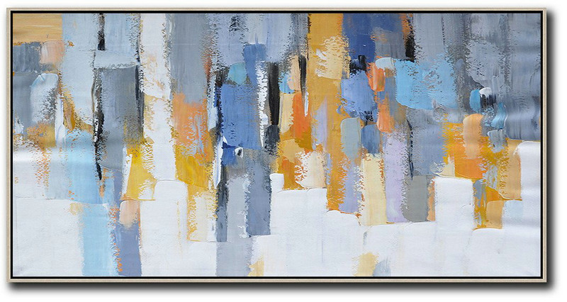 Abstract Painting Extra Large Canvas Art,Horizontal Palette Knife Contemporary Art,Large Wall Art Home Decor,White,Grey,Orange,Yellow,Blue.Etc