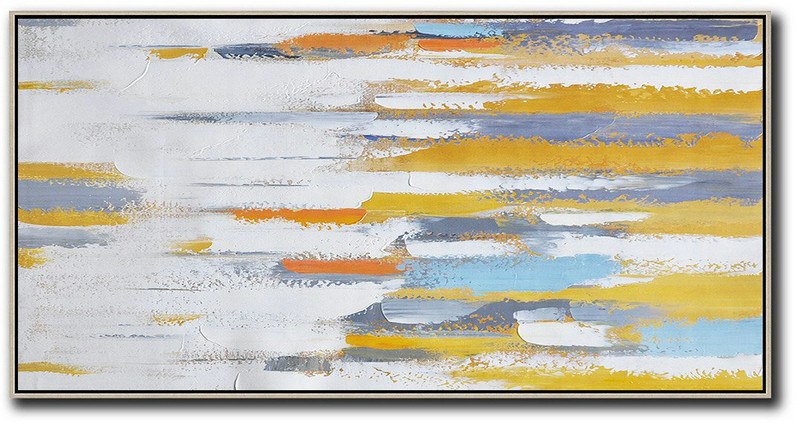 Extra Large Canvas Art,Horizontal Palette Knife Contemporary Art,Living Room Wall Art,White,Yellow,Orange,Blue.Etc