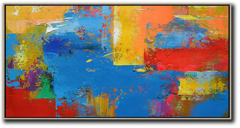 Large Modern Abstract Painting,Horizontal Palette Knife Contemporary Art Panoramic Canvas Painting,Hand Paint Large Art,Blue,Yellow,Orange,Red.Etc