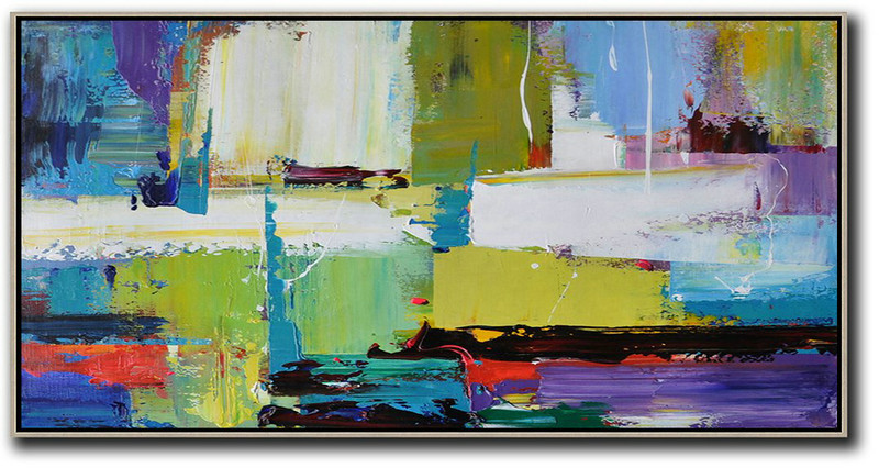 Huge Abstract Painting On Canvas,Horizontal Palette Knife Contemporary Art Canvas Painting,Original Art,Light Green,Purple,Grey,Yellow.Etc