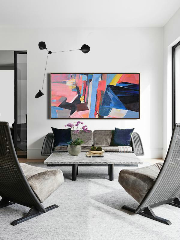 Abstract Painting Extra Large Canvas Art,Horizontal Palette Knife Contemporary Art Panoramic Canvas Painting,Hand Painted Original Art,Pink,Blue,Black,Yellow.Etc - Click Image to Close