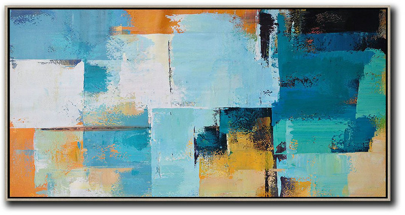 Extra Large Abstract Painting On Canvas,Horizontal Palette Knife Contemporary Art Panoramic Canvas Painting,Size Extra Large Abstract Art,White,Blue,Yellow,Orange.Etc
