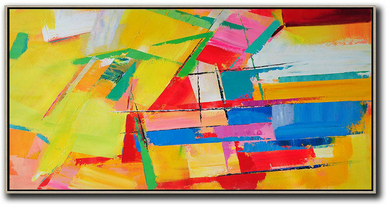 Original Artwork Extra Large Abstract Painting,Horizontal Palette Knife Contemporary Art Panoramic Canvas Painting,Living Room Canvas Art,Yellow,Red,White,Blue.Etc