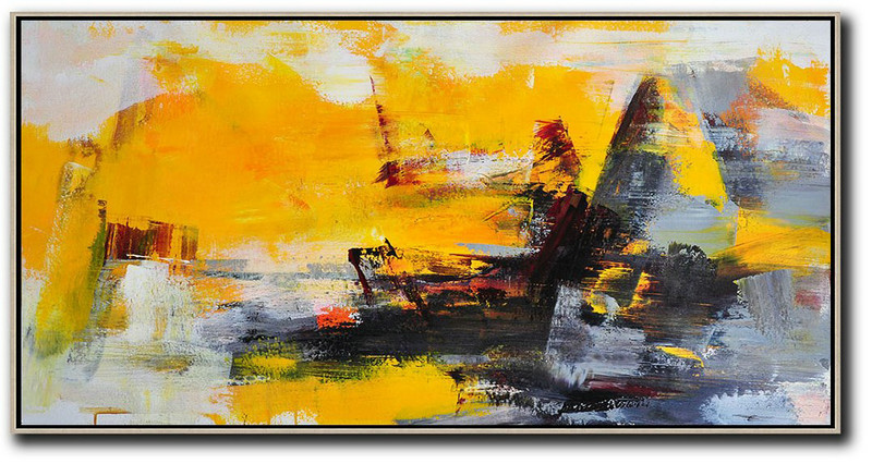 Contemporary Abstract Painting,Horizontal Palette Knife Contemporary Art Panoramic Canvas Painting,Decorating A Big Living Room,Yellow,Grey,Black.Etc