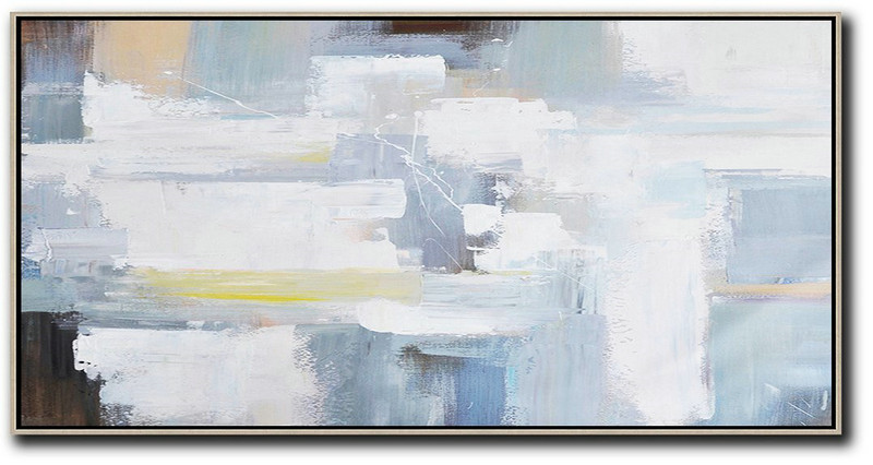 Extra Large Acrylic Painting On Canvas,Horizontal Palette Knife Contemporary Art Panoramic Canvas Painting,Canvas Wall Paintings,White,Grey,Yellow,Brown.Etc