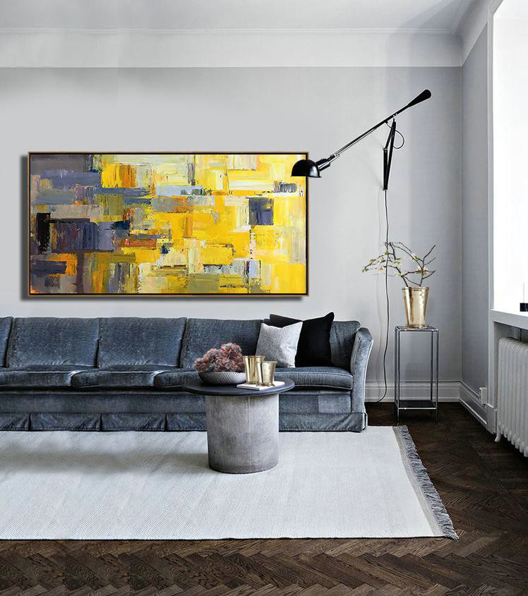 Handmade Painting Large Abstract Art,Horizontal Palette Knife Contemporary Art Panoramic Canvas Painting,Large Canvas Wall Art For Sale,Yellow,Grey,Brown,White.Etc