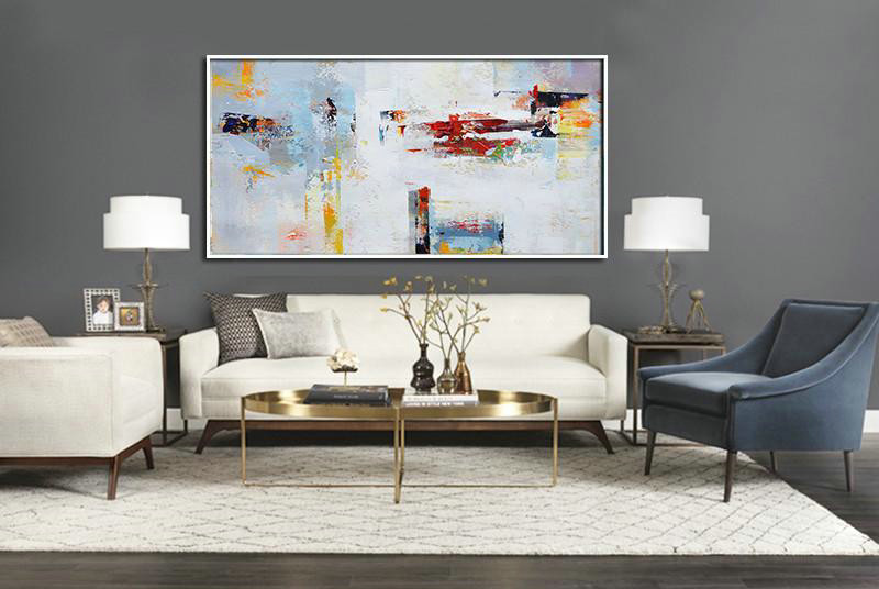 Big Wall Art For Living Room,Horizontal Palette Knife Contemporary Art Panoramic Canvas Painting,Canvas Artwork For Living Room,Grey,White,Red,Yellow.Etc