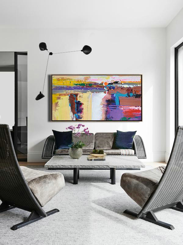 Abstract Painting Extra Large Canvas Art,Horizontal Palette Knife Contemporary Art Panoramic Canvas Painting,Large Wall Art Canvas,Yellow,White,Brown,Purple.Etc